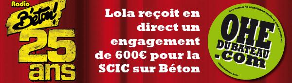 Lola reçoit 600€ pour la SCIC sur Béton !